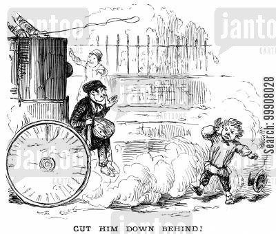 street urchins cartoon humor: Cut Him Down Behind!