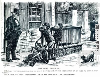 police force cartoon humor: Children Playing in the Street.