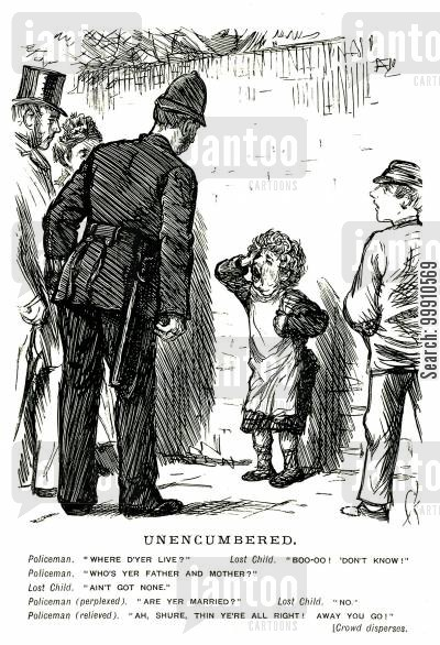 distressed cartoon humor: Policeman talking to lost child