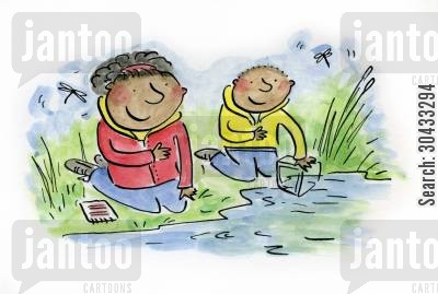 nature projects cartoon humor: Pond Dipping...