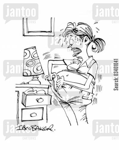 maternity pants cartoon humor: Pregnant woman struggling to do up her jeans.