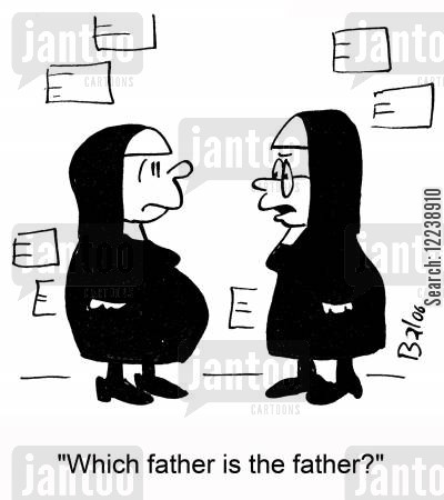 celibacy cartoon humor: 'Which father is the father?'