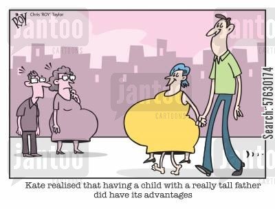 baby bump cartoon humor: Kate realised that having a child with a really tall father did have its advantages.