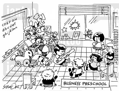 cornering the market cartoon humor: BUSINESS PRESCHOOL