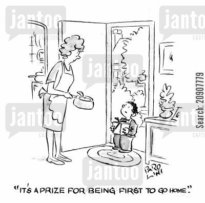 prize winner cartoon humor: 'It's a prize for being first to go home.'