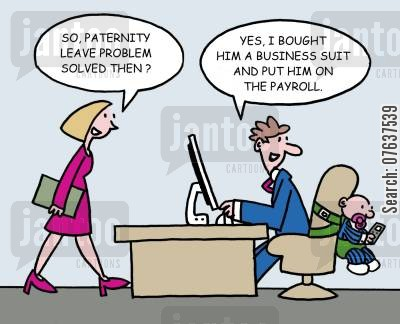 childminders cartoon humor: 'Paternity leave problem solved?'