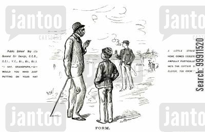 public school cartoon humor: Schoolboy asking his gradfather to put his hat on straight in order to impress an older boy