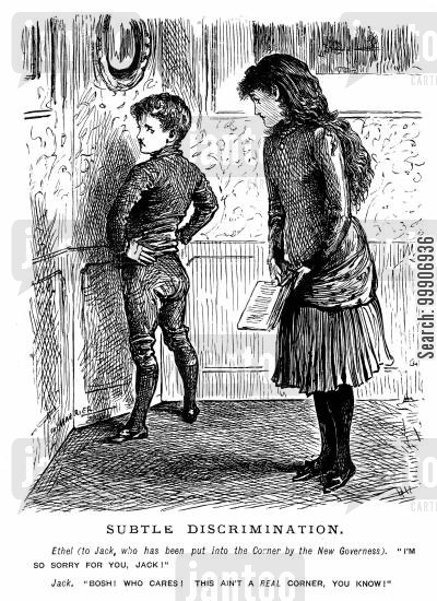 punishment cartoon humor: A boy being made to stand in the corner