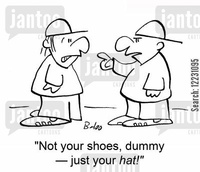getting mugged cartoon humor: 'Not your shoes, dummy — just your hat!'