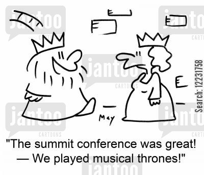 musical chair cartoon humor: 'The summit conference was great! — We played musical thrones!'