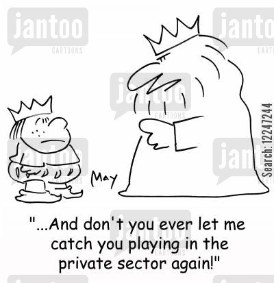 trespassing cartoon humor: '...And don't you ever let me catch you playing in the private sector again!'