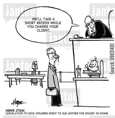 courtcase cartoon humor: 'We'll take a short recess while you change your client.'