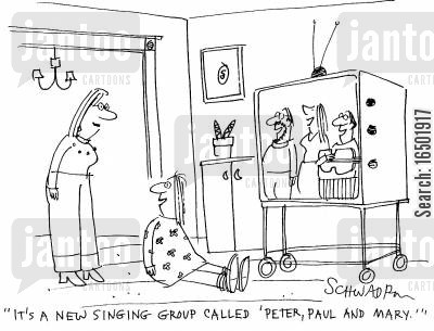 folk music cartoon humor: It's a new singing group called 'Peter, Paul, and Mary.'