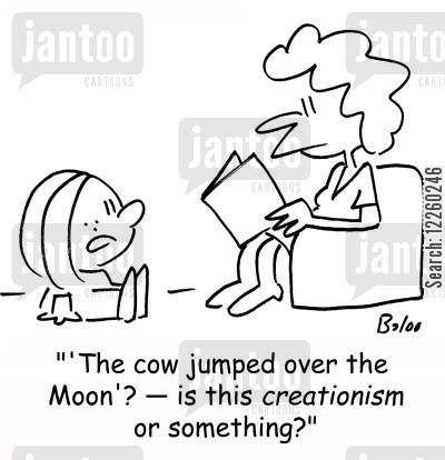 cow jumped over the moon cartoon humor: ''The cow jumped over the Moon'? -- is this creationism or something?'