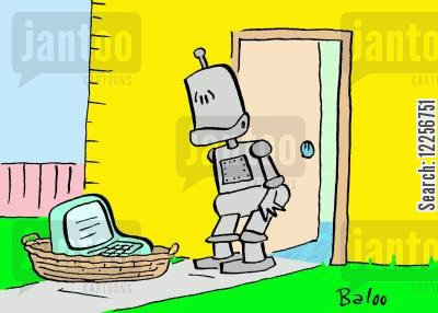foundling cartoon humor: Robot finds computer on doorstep.