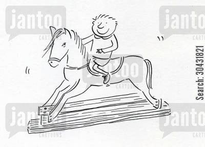 nanny cartoon humor: Rocking horse.