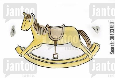old fashioned toy cartoon humor: Rocking Horse