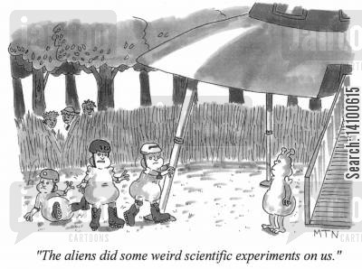 rollerskates cartoon humor: Rollerblades - The aliens did some weird scientific experiments on us.