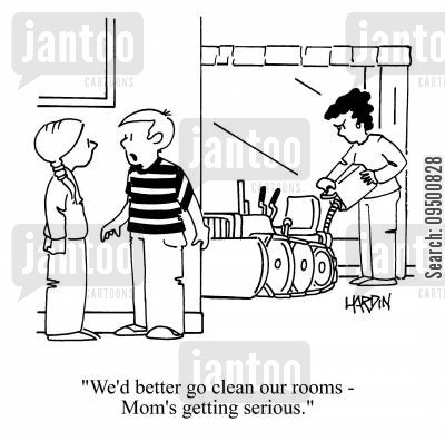 messy room cartoon humor: 'We'd better go clean our rooms - Mom's getting serious.'