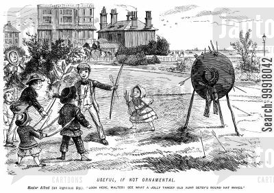 round hat cartoon humor: Children using thier aunt's round hat as a target for archery,
