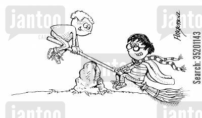 kids books cartoon humor: Harry Potter playing see-saw with his broom.