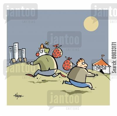 circus worker cartoon humor: Boy running away to join circus, clown running away to city.