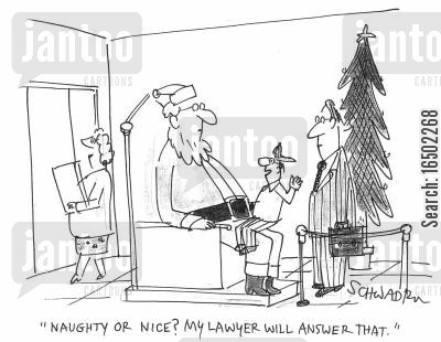 liable cartoon humor: 'Naughty or nice? My lawyer will answer that.'