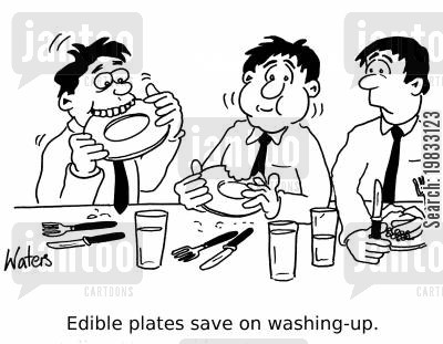 doing dishes cartoon humor: Edible plates save on washing-up.