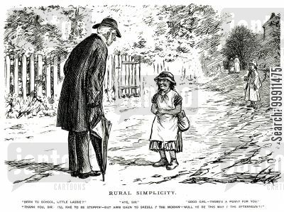 rural cartoon humor: Man giving a penny to a child for going to school