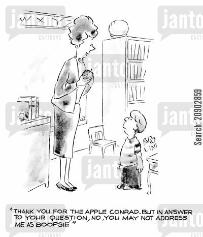 school boys cartoon humor: 'Thank you for the apple Conrad. But in answer to your question, no, you may not address me as 'Boopsie'.'
