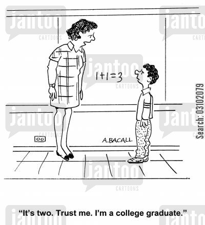 deriving cartoon humor: 'It's two. Trust me. I'm a college graduate.'