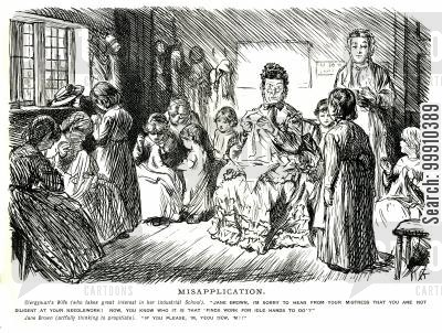 classroom cartoon humor: Clergyman's wife telling a pupil off for not being diligent