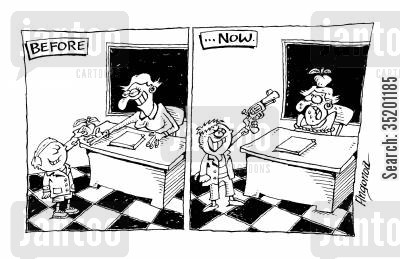 school kid cartoon humor: Before - School kid gives teacher an apple... Now - School kid pulls gun on teacher.