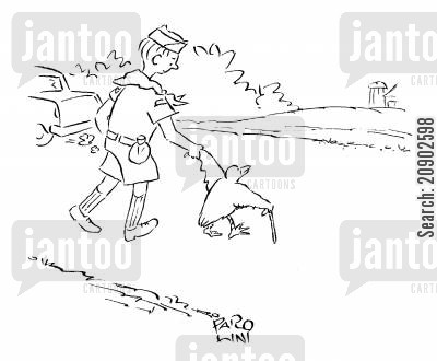 cub scouts cartoon humor: Boy scout helping a bird with a walking stick cross the road.