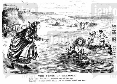bathing cartoon humor: Child with doll in the sea