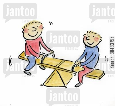 playground ride cartoon humor: See saw