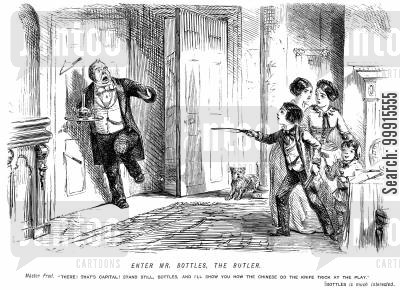 horrified cartoon humor: Boy throwing knives at the butler