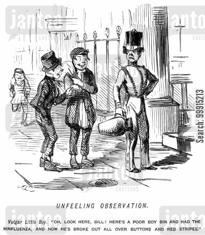 footmen cartoon humor: Boys teasing a servant about his uniform