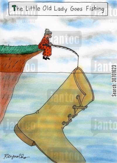 old botts cartoon humor: The Little Old Lady Goes Fishing.