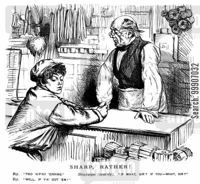 shopkeepers cartoon humor: An impolite young man making an order