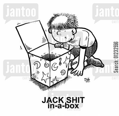 colloquialism cartoon humor: JACK SHIT in-a-box.