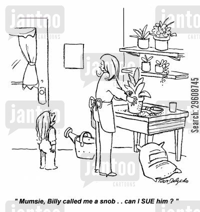 posh cartoon humor: 'Mumsie, Billy called me a snob... can I sue him?'