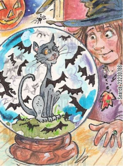 all hallows cartoon humor: Bat Globe.