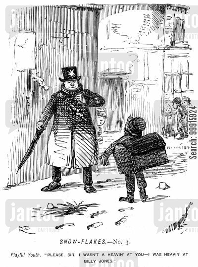 misbehaviour cartoon humor: Boy accidentally hits a man with a snowball