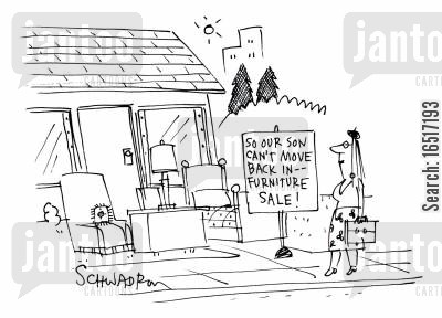 moves out cartoon humor: 'So our son can't move back in -- furniture sale!'