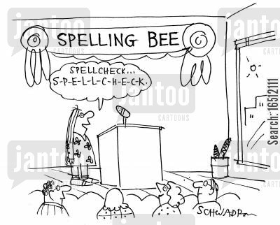 spellchecking cartoon humor: Spelling Bee - 'Spellcheck...'