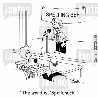 spell cheker cartoon humor: 'The word is, 'Spellcheck'.'