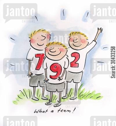 soccer fan cartoon humor: What a team!