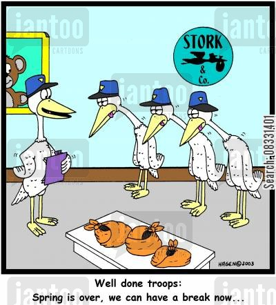 newborn child cartoon humor: 'Well done troops: Spring is over, we can have a break now...'