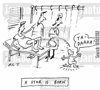 exhibitionists cartoon humor: A Star is Born.